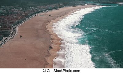 Ocean Beach in the Portuguese Town of Nazare, top view