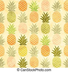 Watercolor pineapple seamless pattern background.