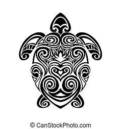 turtle in maori tattoo style. - Decorative turtle in maori...