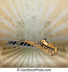 background music jazz saxophone and piano keys - Vector...