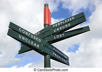 Lost and Confused Signpost against cloudy sky - clipping...