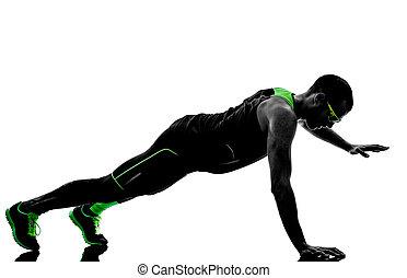 man push ups exercises fitness silhouette