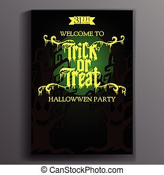 Halloween Party Design template, with the moon, trees and text -
