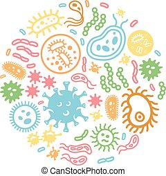 Bacteria and virus on a circular background, colored vector...