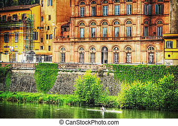 Arno river bank in Florence, Italy