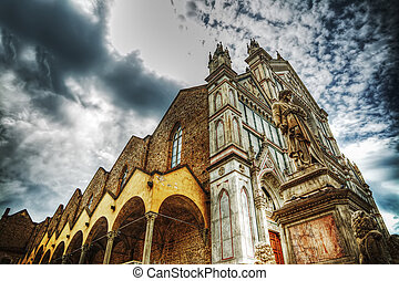 Santa Croce cathedral in hdr tone mapping effect, Italy