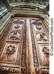 Santa Croce main door in hdr, Florence