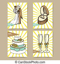 Sketch set of wedding posters in vintage style,