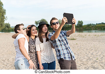 組,  selfie, 年輕, 成人, 朋友, 拿
