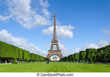 Eiffel Tower with blue sky in Paris
