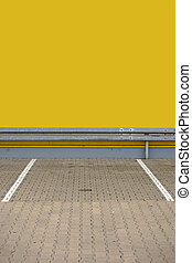 Parking lot with guardrail - A single parking lot with...