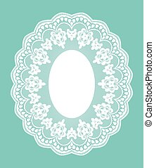 Lace doily - White openwork lace doily on a turquoise...