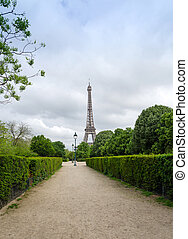 Eiffel Tower at Champ de Mars Park in Paris, France
