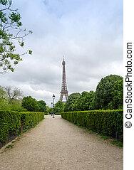 Eiffel Tower at Champ de Mars Park in Paris, France