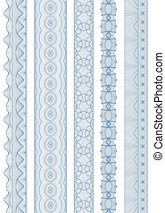 Seamless linear wavy border. - vector element for currency,...