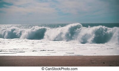 Slow Motion Ocean Waves Breaking on Shore, storm weather