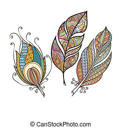 Set of ornate intricate feather. Doodle. Zentangle