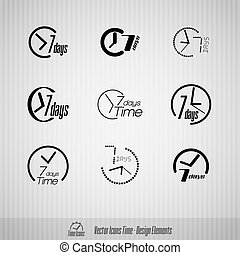 7 days vector icons - Vector time icons 7 days symbols...