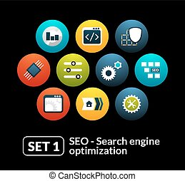 Flat icons set 1 - SEO and Development collection