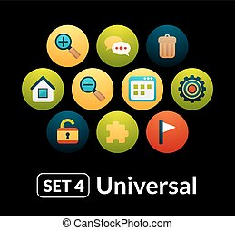 Flat icons vector set 4 - universal collection