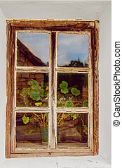 old window with a wooden frame