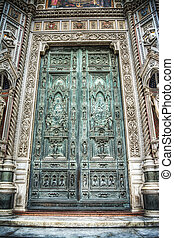 front view of Santa Maria del Fiore cathedral main door in...