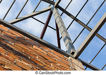 steel beams roof truss residential building construction...
