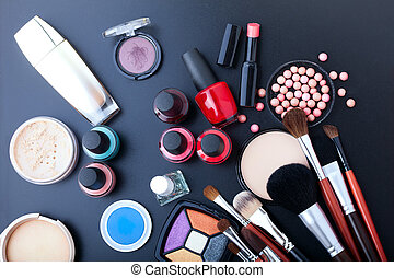 Cosmetics make-up on black background. Top view mock up. -...