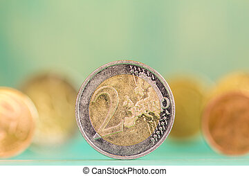 European currency - coins - Extremely close up view of...