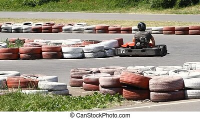 Race karting on a track