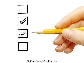 pencil in hand - Hand with pencil and check boxes isolated...