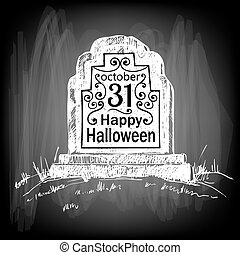 Halloween card Hand drawn tombstone with lettering on...