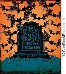 Halloween card Hand drawn tombstone with lettering on spooky...