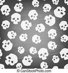 Skulls - Seamless pattern with stylized human skulls on...