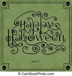 Halloween card with lettering, frame and background pattern...