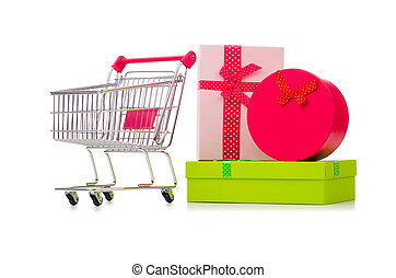 Cart in holiday shopping concept