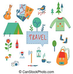 Travel and tourism icons set with funny design