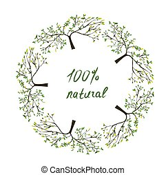 Frame or label with trees for natural eco products