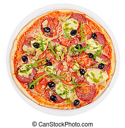 Italian pizza with cheese and olives