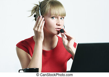 Call center employee at work - Young blonde call center...