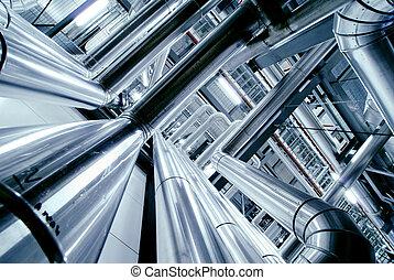 Industrial zone, Steel pipelines, valves and ladders...