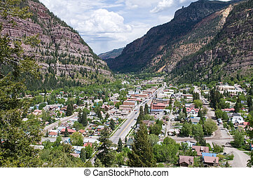 Ouray - A view from above of Ouray, Colorado