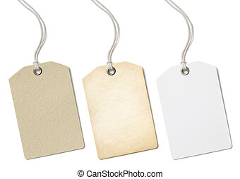 Blank paper price tags or labels set isolated on white
