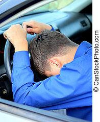 Man sleep in a Car - Tired Young Man sleep in a Car