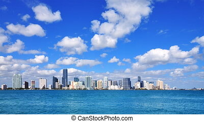 Miami skyline - time lapse on a beautiful sunny day in South...