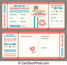 Las vegas Wedding Invitation - 3 hi detail Vector Grunge...