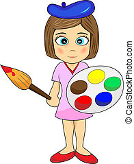 Cute Little Girl Artist - Vector Illustration of a cute...