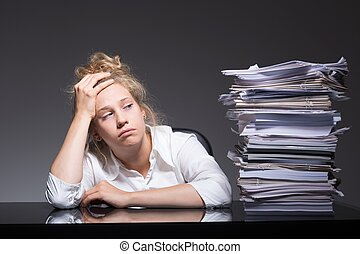 Burnout office worker - Photo of burnout office worker lying...