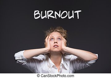 Burnout workplace harassment victim - Image of female...