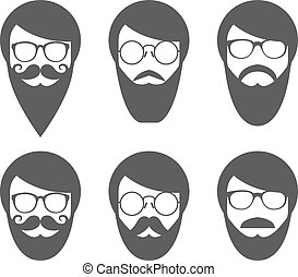Face of bearded man - lumbersexual - Face of bearded man -...